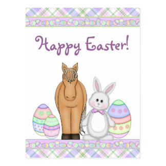 Horse and Bunny Happy Easter Postcard