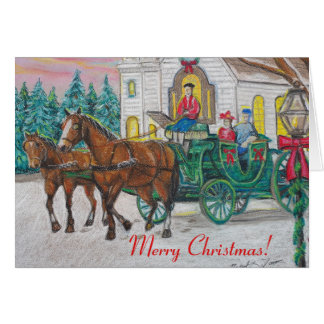 Horse and Carriage Christmas Card
