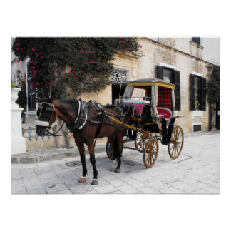 Horse and Carriage, Mdina, Malta Poster