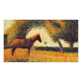 Horse and cart painting pointillist art Seurat Double-Sided Standard Business Cards (Pack Of 100)