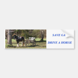 Horse and Cart, SAVE GASDRIVE A HORSE Bumper Sticker