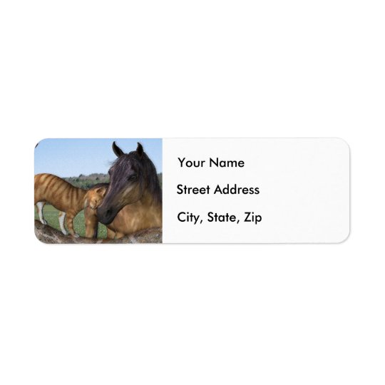 "Horse and cat, ""Love thy Neigh-Purr"" Address Label"