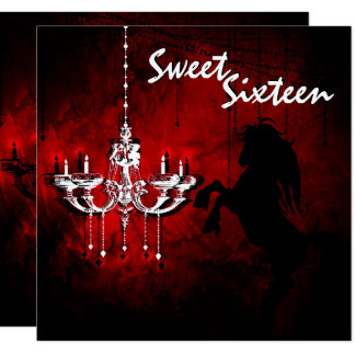 Horse and Chandelier Sweet Sixteen Happy Birthday Card