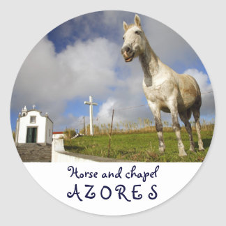 Horse and chapel round sticker