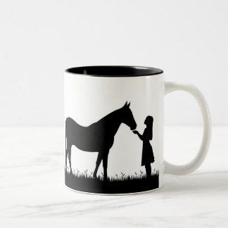 Horse and Child Two-Tone Coffee Mug
