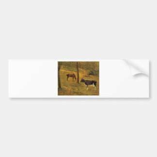 Horse and Cow in a Meadow by Paul Gauguin Bumper Sticker