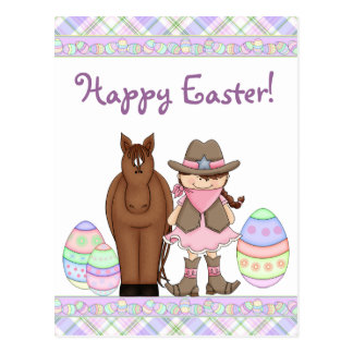 Horse and Cowgirl Happy Easter Postcard