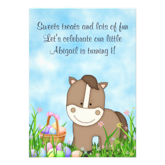 Horse and Easter Basket 1st Birthday Invitation