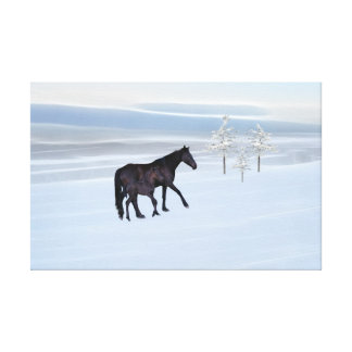 Horse and foal in snow canvas prints