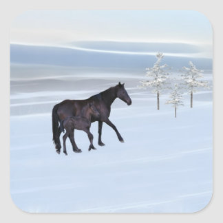 Horse and foal in snow square sticker