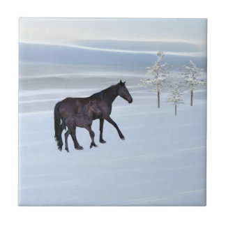 Horse and foal in snow tile
