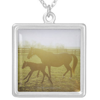 Horse and foal running in pasture silver plated necklace