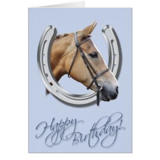 Horse and horseshoe birthday card