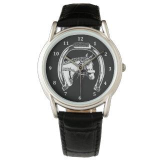 Horse and Horseshoe Scratch Art Wrist Watches