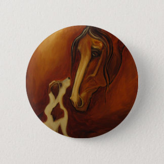 Horse and Jack Russell 6 Cm Round Badge