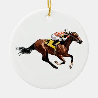 Horse And Jockey Ceramic Ornament