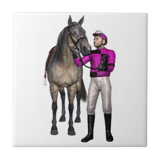 Horse and Jockey in Pink and Black Tile