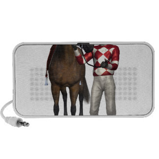 Horse and Jockey in Red and White Notebook Speakers
