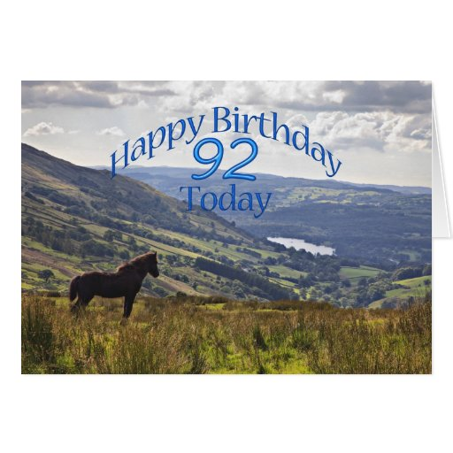 Horse and landscape 92nd birthday card