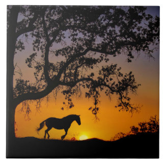 Horse and Oak Tree Art Tile