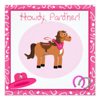 Horse and Pink Paisley Cowgirl Birthday Party Card