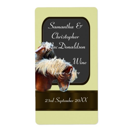 horse and pony themed wedding wine bottle