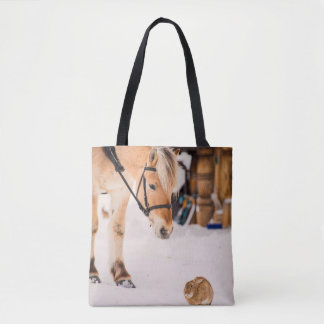 Horse and rabbit friends tote bag