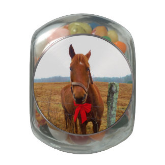 Horse and Red Christmas Bow Glass Jar