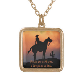 Horse and Rider Sunset Silhouette Gold Plated Necklace