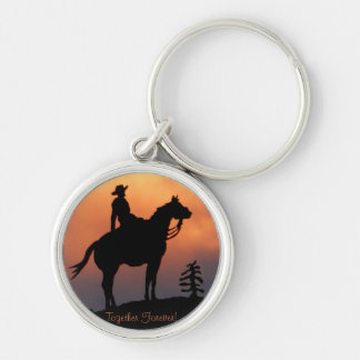 Horse and Rider Sunset Silhouette Silver-Colored Round Key Ring