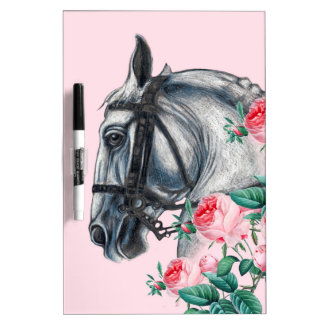 Horse And Roses Dry Erase Board