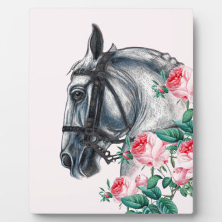 Horse And Roses Plaque