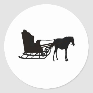 Horse and Sleigh by Melanie Snyder Classic Round Sticker