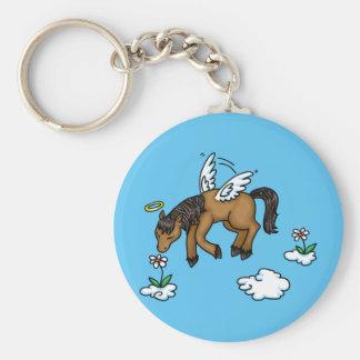 Horse Angel Basic Round Button Key Ring