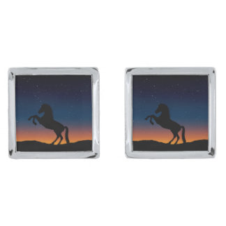 Horse Animal Nature Silver Finish Cufflinks