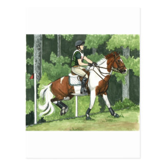 HORSE ART Cross-Country Up the Steps Eventing Postcard