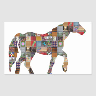 HORSE Artistic Collection Patches FUN NVN477 gifts Rectangular Sticker