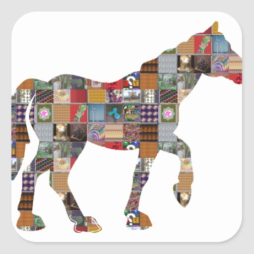 HORSE Artistic Collection Patches FUN NVN477 gifts Square Sticker