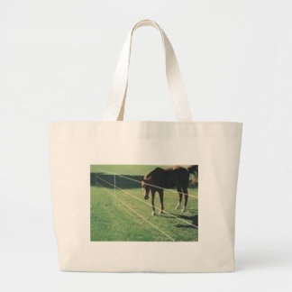 horse at the fence jumbo tote bag