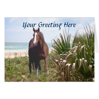 Horse Beach Grass and Ocean Greeting Card