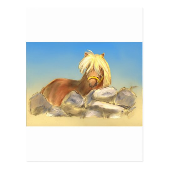 horse behind the stone wall postcard