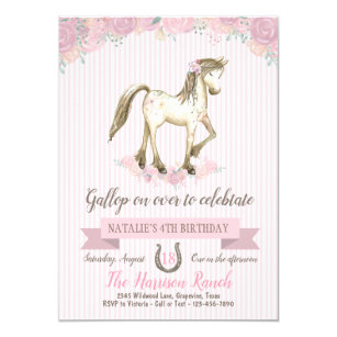 Horse Birthday Party Girls Pony Invitation