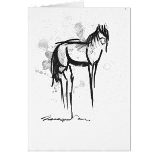 horse black ink print greeting card