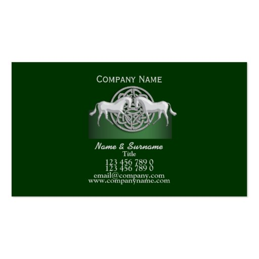 Horse business marketing green white celtic business card templates