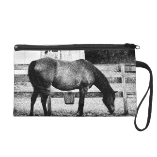 horse by fence black and white sketch wristlet purse