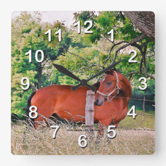 Horse By Fence-Wall Clock