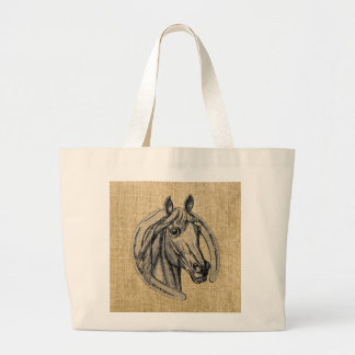 Horse Cameo on Burlap Tote Bags