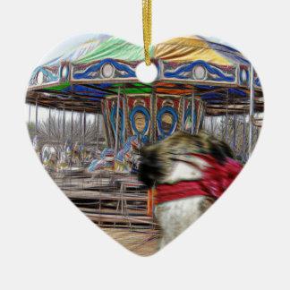 Horse Carousel Ceramic Heart Decoration