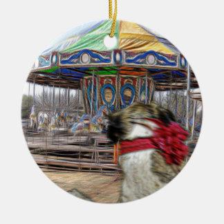 Horse Carousel Round Ceramic Decoration