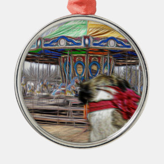 Horse Carousel Silver-Colored Round Decoration